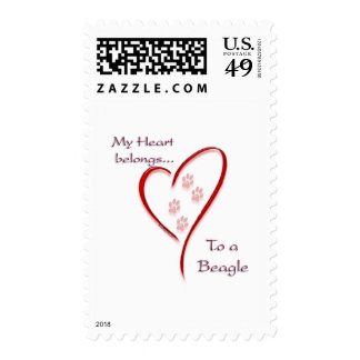Beagle Heart Belongs Stamp