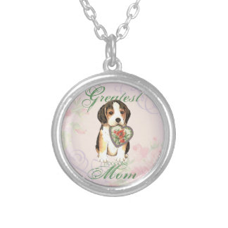 Beagle Heart Mom Silver Plated Necklace