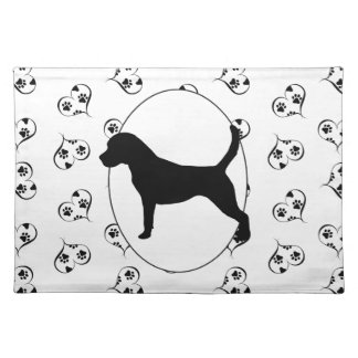Beagle Hearts and Pawprints Cloth Placemat