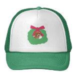 Beagle Holiday Wreath Mesh Hat