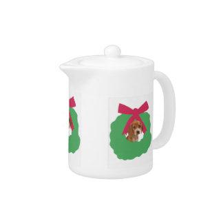 Beagle Holiday Wreath Teapot