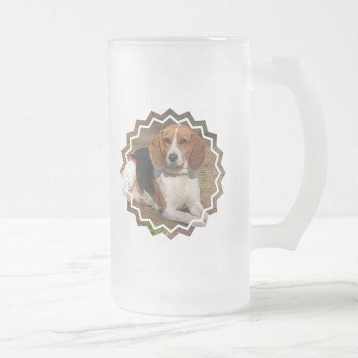 Beagle Hound Frosted Beer Mug