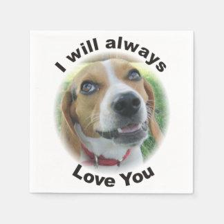 Beagle I will always love you napkins