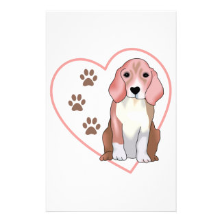 Beagle In Heart Customized Stationery