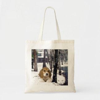 Beagle In Snow Tote Bag