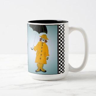 Beagle in the Rain (Not Exactly Singin' !) Two-Tone Coffee Mug