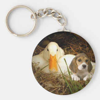 Beagle Keychain With Duck