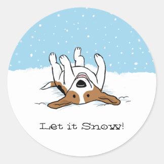 Beagle Let it Snow Classic Round Sticker