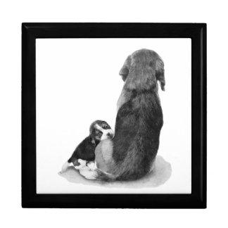 Beagle lindo del perrito con arte del realista del caja de recuerdo