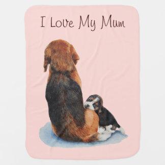 Beagle lindo del perrito con arte del realista del mantitas para bebé