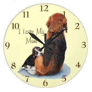 Beagle lindo del perrito con arte del realista del relojes de pared