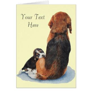 Beagle lindo del perrito con arte del realista del felicitacion