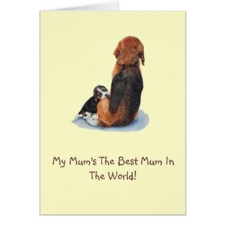 Beagle lindo del perrito con arte del realista del tarjetón