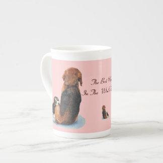 Beagle lindo del perrito con arte del realista del tazas de porcelana
