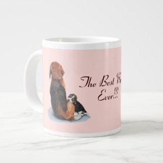 Beagle lindo del perrito con arte del realista del taza extra grande