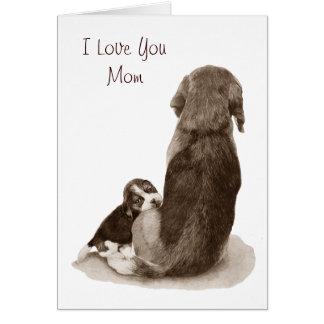 Beagle lindo del perrito con la tarjeta del arte d