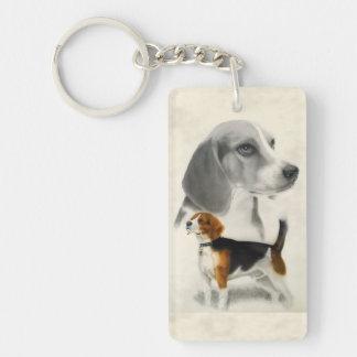 Beagle Llavero Rectangular Acrílico A Doble Cara