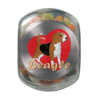 Beagle Love Heart Jelly Belly Candy Jars