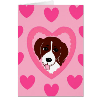 Beagle Love Hearts Pink Greeting Card