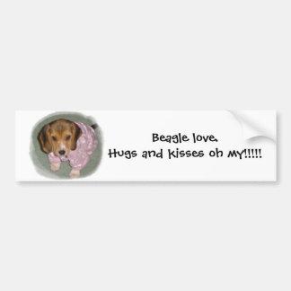 Beagle love.Hugs and kisses oh my Car Bumper Sticker