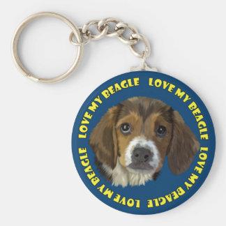 Beagle Love My Beagle Basic Round Button Keychain