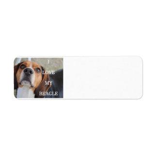 beagle love w pic black red white label