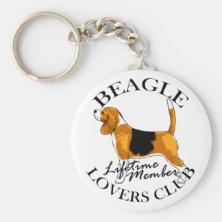 Beagle Lovers Club Basic Round Button Keychain