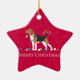 Beagle Merry Christmas Design Ceramic Ornament