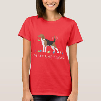 Beagle Merry Christmas Design T-Shirt