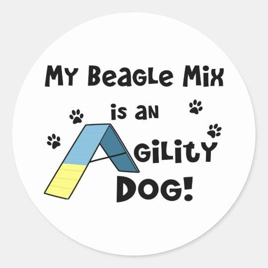 Beagle Mix Agility Dog Classic Round Sticker