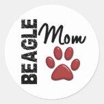 Beagle Mom 2 Round Sticker