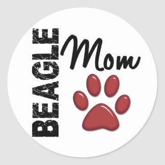 Beagle Mom 2 Round Stickers