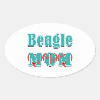 Beagle Mom Hearts Oval Sticker
