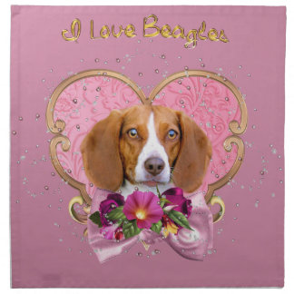 Beagle Mom Pink Heart Napkin