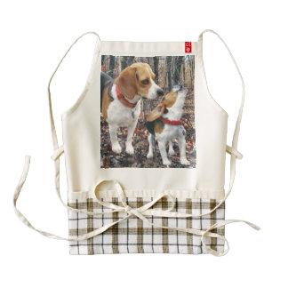 Beagle Mom & Puppy In Woods Zazzle HEART Apron