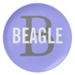 Beagle Monogram Melamine Plate