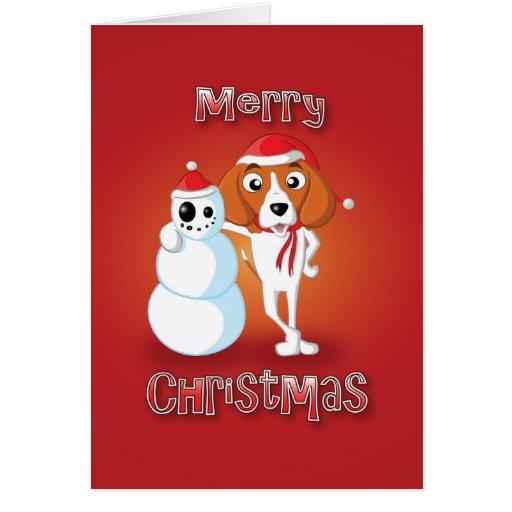 beagle - muñeco de nieve - Felices Navidad Tarjeta De Felicitación