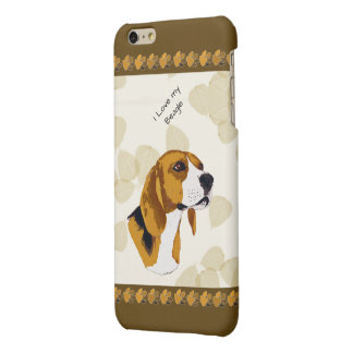 Beagle on Tan Leaves, Brown Pawprints Matte iPhone 6 Plus Case