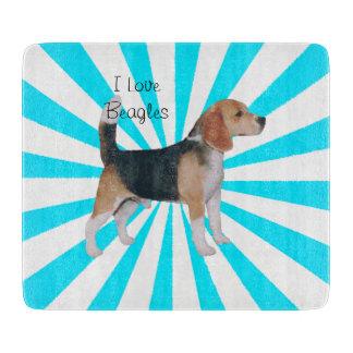 Beagle on Turquoise Pinwheel Cutting Board