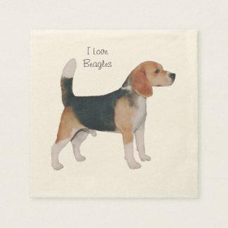Beagle on Turquoise Pinwheel Napkin