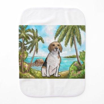 Beach Themed Beagle on Vacation Tropical Beach Burp Cloth
