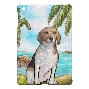 Beach Themed Beagle on Vacation Tropical Beach iPad Mini Cover