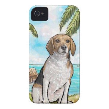 Beach Themed Beagle on Vacation Tropical Beach iPhone 4 Case