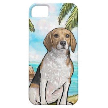 Beach Themed Beagle on Vacation Tropical Beach iPhone SE/5/5s Case