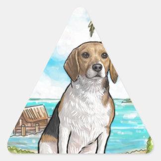 Beagle on Vacation Tropical Beach Triangle Sticker