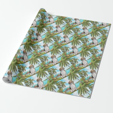 Beach Themed Beagle on Vacation Tropical Beach Wrapping Paper