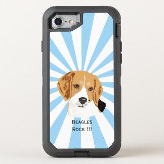 Beagle on white starburst OtterBox defender iPhone 8/7 case