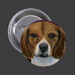 Beagle Painting - Dog Breed Art Pinback Button