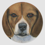 Beagle Painting - Dog Breed Art Round Stickers