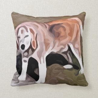 beagle painting throw pillow